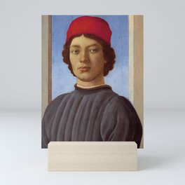 """Sandro Botticelli """"Portrait of a young man with red hat"""" Mini Art Print"""