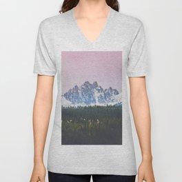 Sawtooth Mountains Sunrise Unisex V-Neck