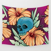 hibiscus Wall Tapestries featuring Hibiscus by kellyhalloran