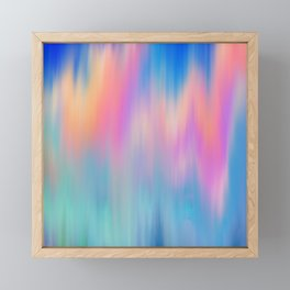 Artsy abstract pink teal blue watercolor brushstrokes Framed Mini Art Print
