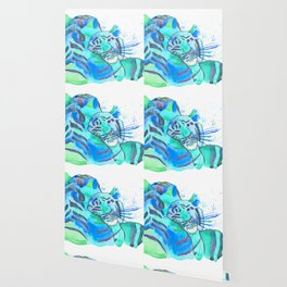 Cuddling Tigers - Tropical Turquoise Wallpaper