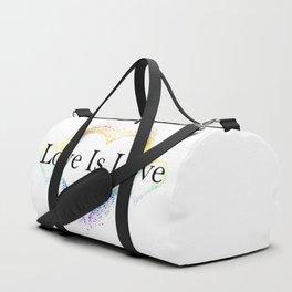 Splatter Paint Triple Hearts Love is Love Pride Rainbow Minimalist Art Duffle Bag