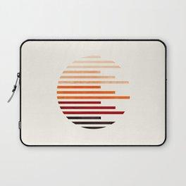 Mid Century Modern Minimalist Circle Round Photo Burnt Sienna Staggered Stripe Pattern Laptop Sleeve