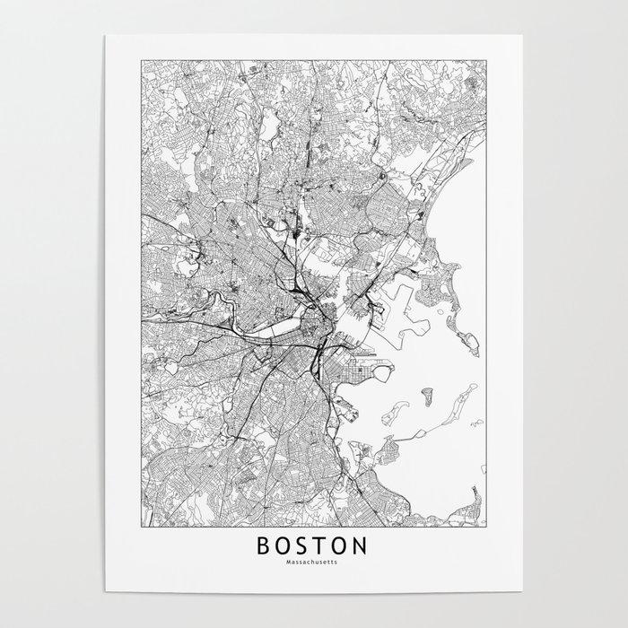 Boston White Map Poster