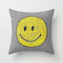 Swirly Smilie Throw Pillow