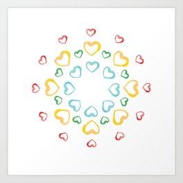 "Hearts. ""Mandala"". Circle. Watercolor traced in vector. Art Print"