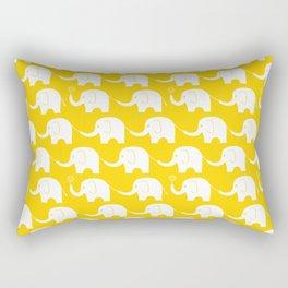Elephant Parade on Yellow Rectangular Pillow