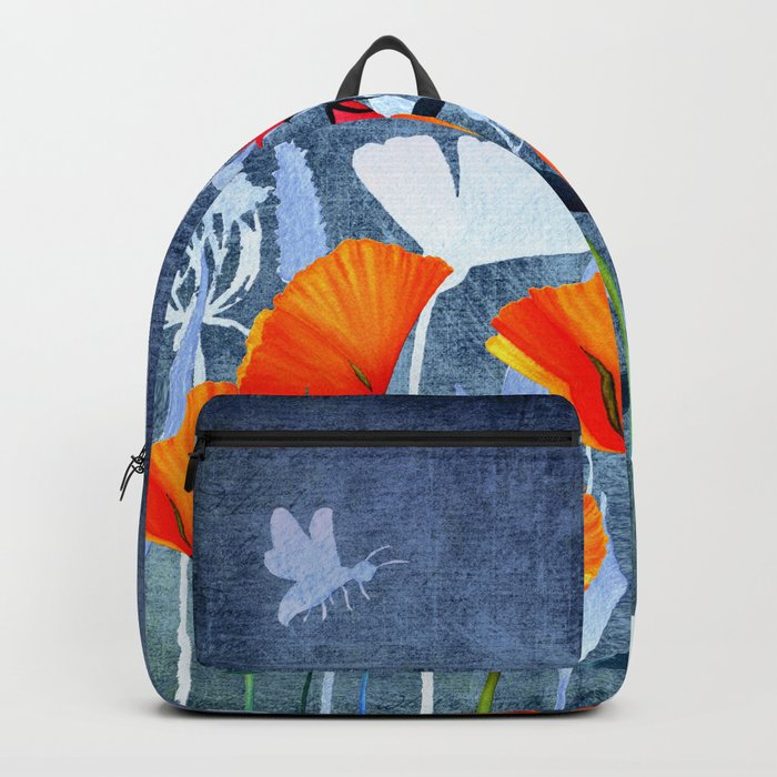 Summer night- Shadow of a Poppy meadow- Flowers on #Society6 Backpack