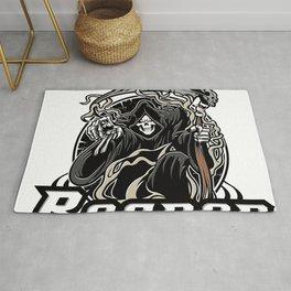 Illustration of grim reaper on white background Rug
