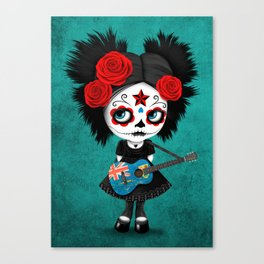 Day of the Dead Girl Playing Turks and Caicos Flag Guitar Canvas Print