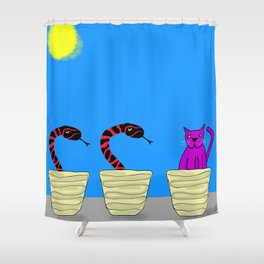 Purple Cat doesn't know how this happened Shower Curtain