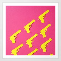 guns Art Prints featuring Guns Papercut by Sally Eyeballs