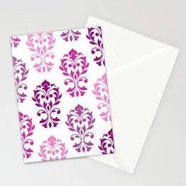 Heart Damask Art I Pinks Plums White Stationery Cards