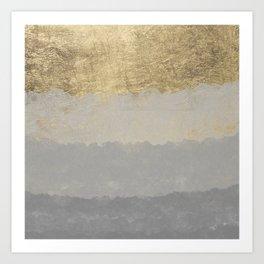 Geometrical ombre glacier gray gold watercolor Art Print