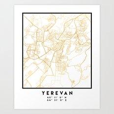 YEREVAN ARMENIA CITY STREET MAP ART Art Print