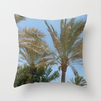 palm trees Throw Pillows featuring Palm Trees by MehrFarbeimLeben