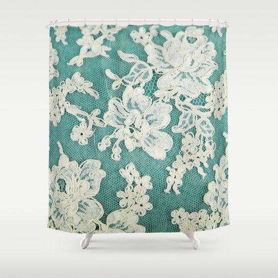 white lace photo of vintage white lace shower curtain by sylvia cook photography society6. Black Bedroom Furniture Sets. Home Design Ideas