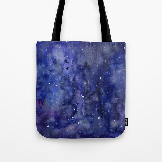 Night Sky Galaxy Nebula Stars Watercolor Space Texture Tote Bag