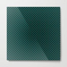 Black and Dynasty Green Polka Dots Metal Print
