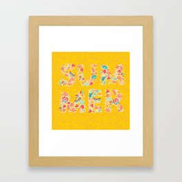 Summer text with summer object pattern. Multicolor vector illustrations isolated on white background Framed Art Print