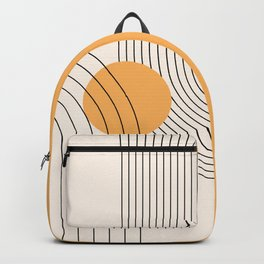 Geometric Lines in Black and Beige 38 (Rainbow and Sun Abstract) Backpack