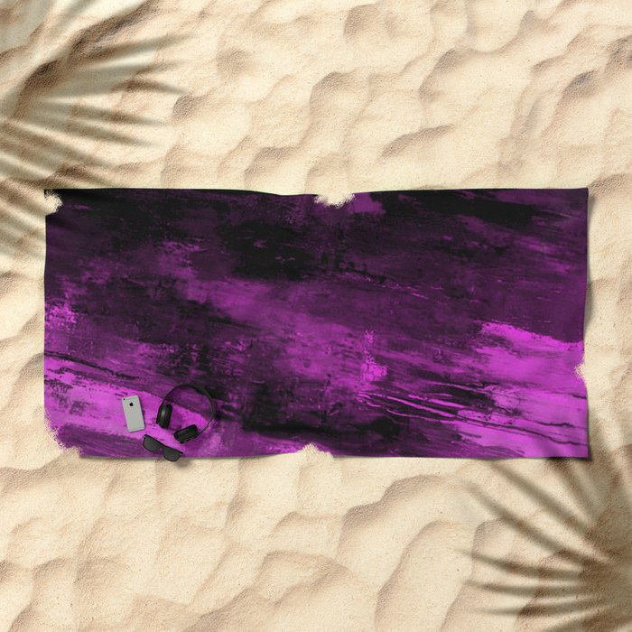 Purple Haze - Abstract, purple and black painting Beach Towel