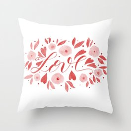 Love and flowers - living coral Throw Pillow