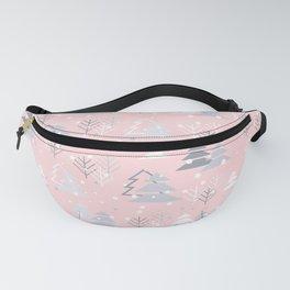 Pretty Pink Grey Christmas Tree Pattern Fanny Pack