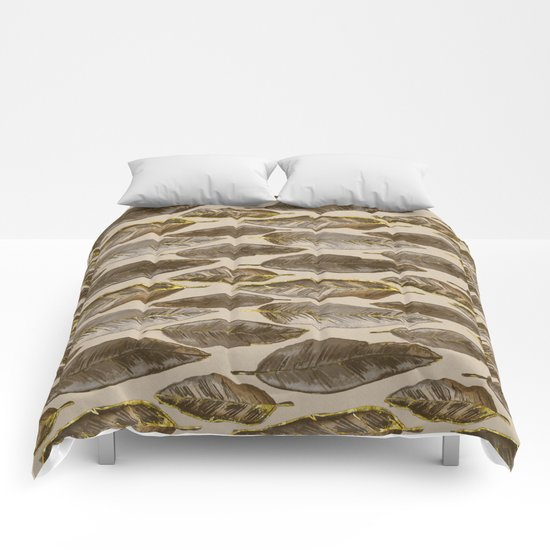 Gold Feather Pattern brown beige Comforters