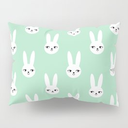 Bunny Rabbit mint and white spring cute character illustration nursery kids minimal floral crown Pillow Sham