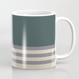 Magic Dust Purple PPG13-24 & Sourdough Beige Horizontal Stripes on Night Watch Green Coffee Mug