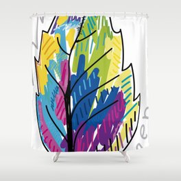 colorful leaf illustration design Shower Curtain