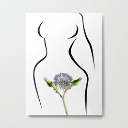 The woman and flower Metal Print