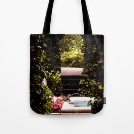 Secret Garden with Frog Prince Fountain Tote Bag