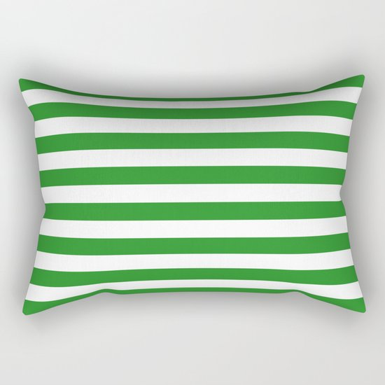 Horizontal Stripes (Forest Green/White) Rectangular Pillow