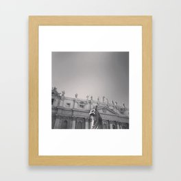 St. Peter's Basilica, Vatican City, Rome, architecture photography, black & white, Baroque Framed Art Print
