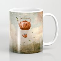 tea Mugs featuring Tea for Two at Dusk by Paula Belle Flores