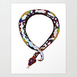 Snake Piece #37 - Rainbow Calico Necklace Art Print