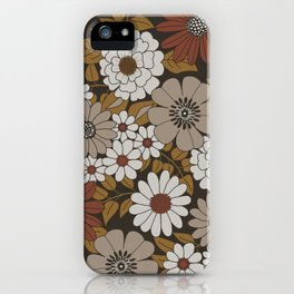 Brown, Orange, and Ivory Retro Flower Pattern iPhone Case