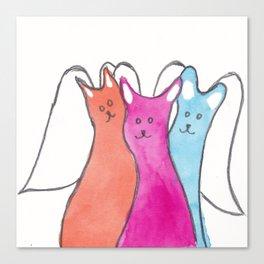 Three Angel Cats Canvas Print