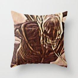 Alien Angry Monster Artistic Illustration Slush Style Throw Pillow