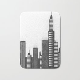 Modern City Buildings And Skyscrapers Sketch, New York Skyline, Wall Art Poster Decor, New York City Bath Mat