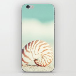 Seashell Beach Photography, Shell Coastal Ocean, Teal Turquoise Aqua Art, Nautilus Seaside Photo iPhone Skin