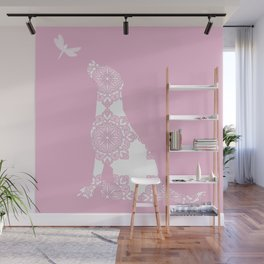 Labrador Dog on pink with dragon fly Wall Mural
