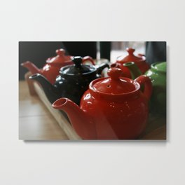 Teapots All in a Row Metal Print