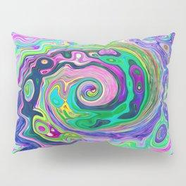 Groovy Abstract Aqua and Navy Lava Liquid Swirl Pillow Sham
