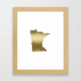 minnesota gold foil state map Framed Art Print