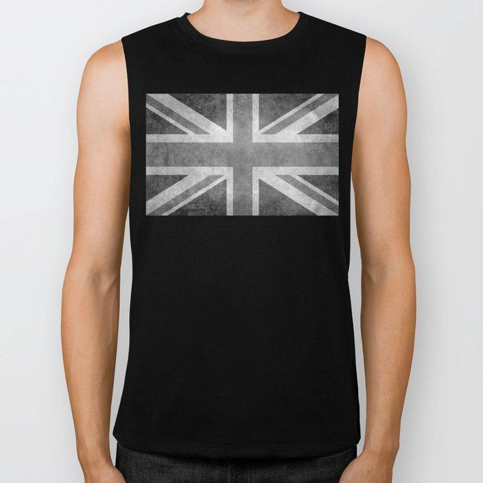 Union Jack Vintage 3:5 Version in grayscale Biker Tank