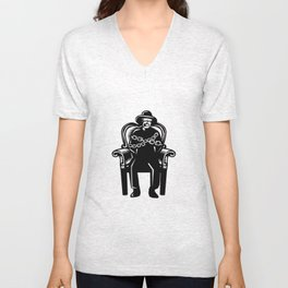Man Gagged Chained to Grand Arm Chair Woodcut Unisex V-Neck