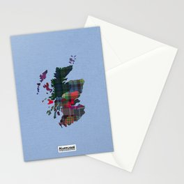 Scotland Counties Fabric Map Art Stationery Cards
